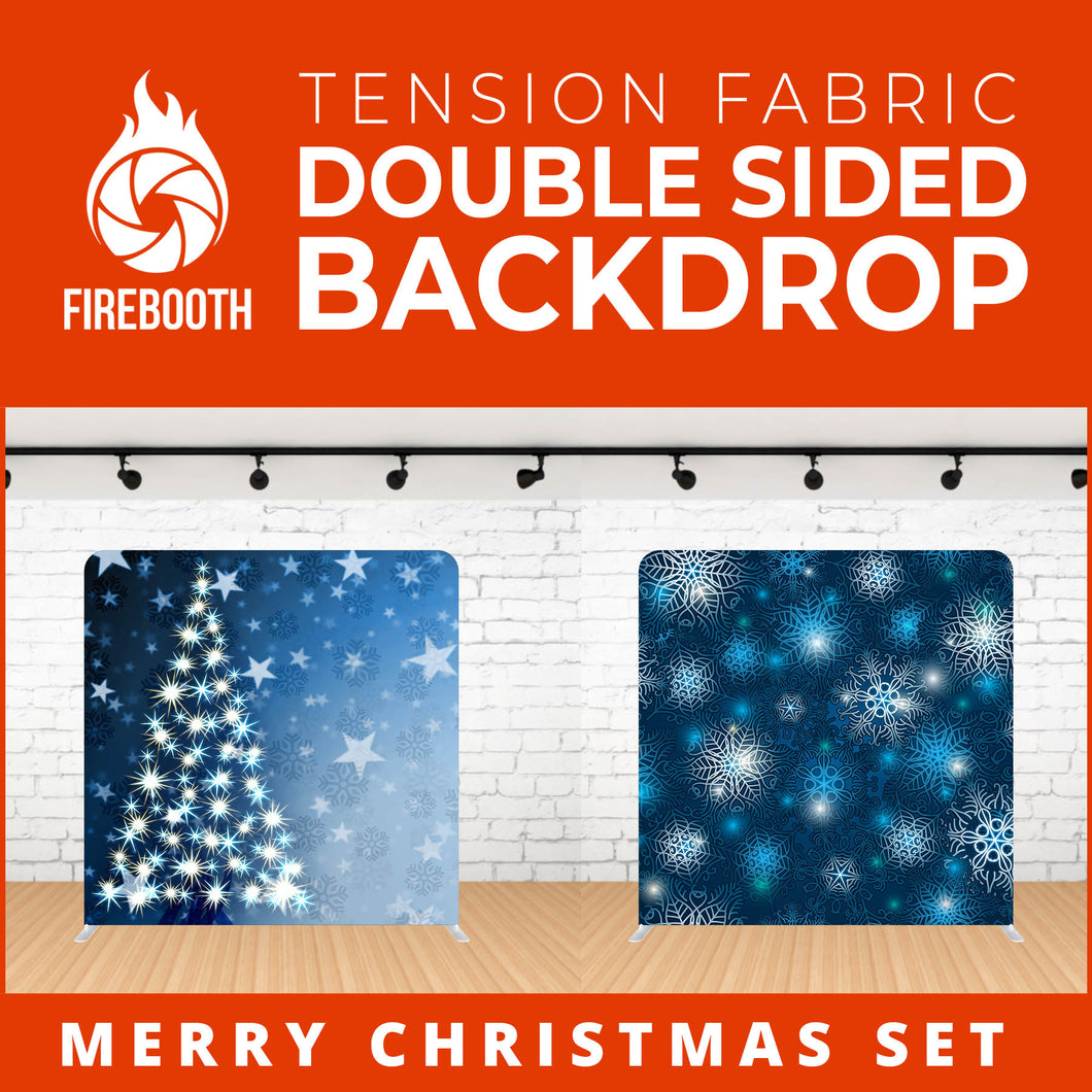 Merry Christmas Set Double Sided Tension Fabric Photo Booth Backdrop