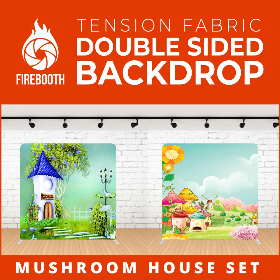Mushroom House Set Double Sided Tension Fabric Photo Booth Backdrop
