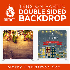 Merry Christmas Set15 Double Sided Tension Fabric Photo Booth Backdrop