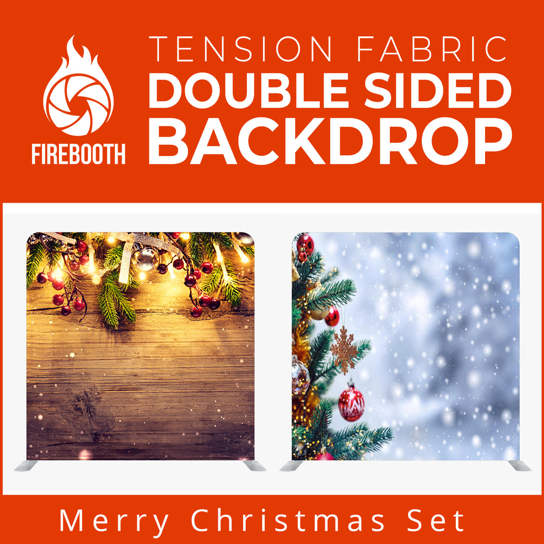 Merry Christmas Set16 Double Sided Tension Fabric Photo Booth Backdrop
