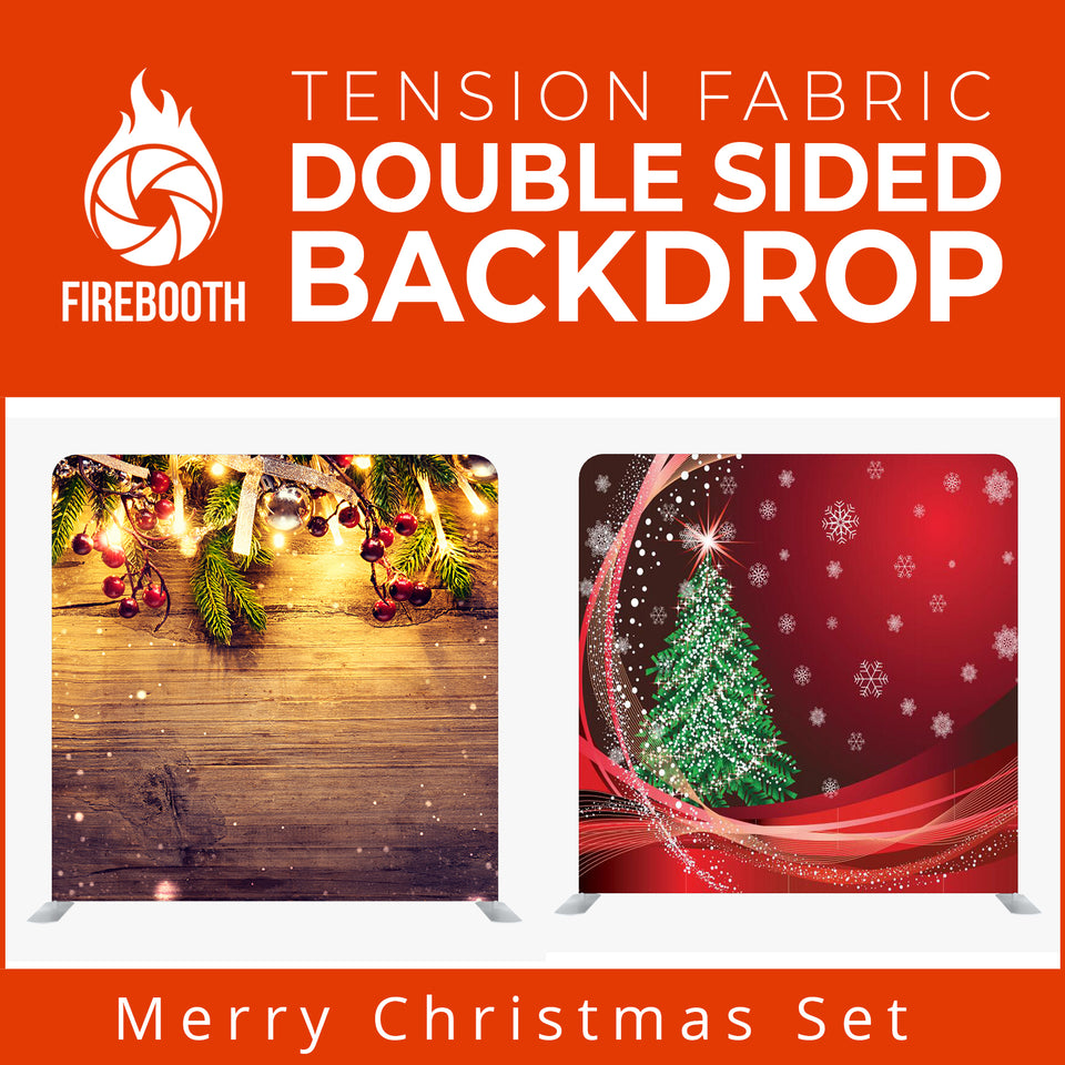 Merry Christmas Set18 Double Sided Tension Fabric Photo Booth Backdrop