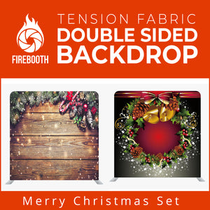 Merry Christmas Set1 Double Sided Tension Fabric Photo Booth Backdrop
