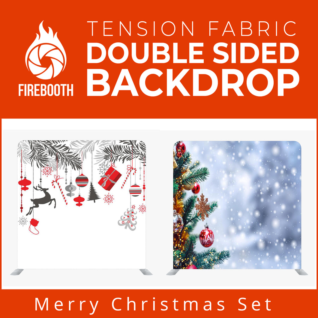 Merry Christmas Set21 Double Sided Tension Fabric Photo Booth Backdrop