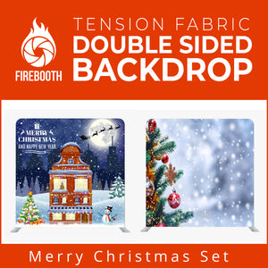 Merry Christmas Set23 Double Sided Tension Fabric Photo Booth Backdrop