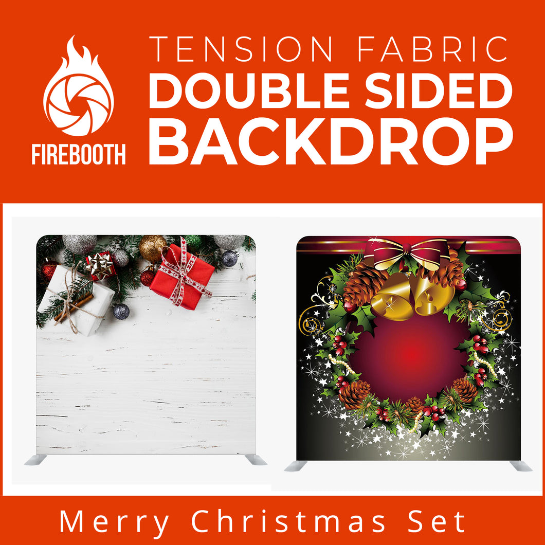 Merry Christmas Set3 Double Sided Tension Fabric Photo Booth Backdrop