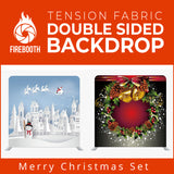 Merry Christmas Set4 Double Sided Tension Fabric Photo Booth Backdrop