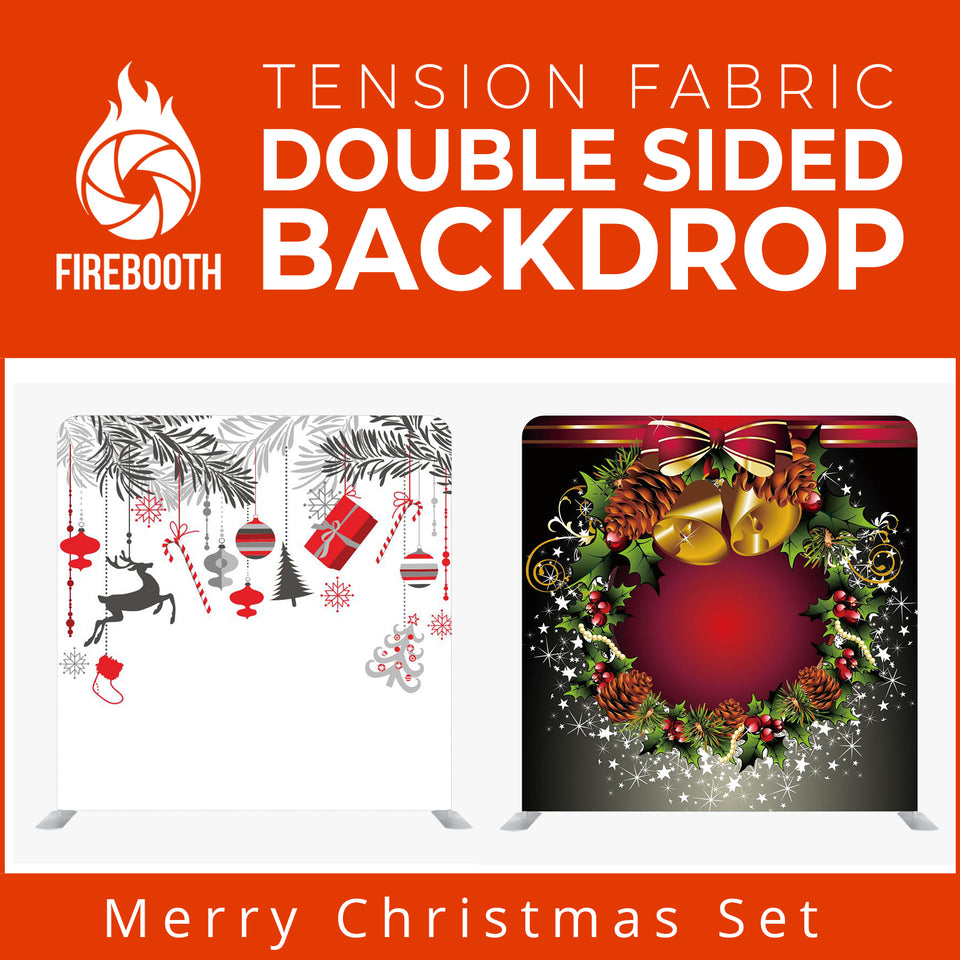 Merry Christmas Set6 Double Sided Tension Fabric Photo Booth Backdrop