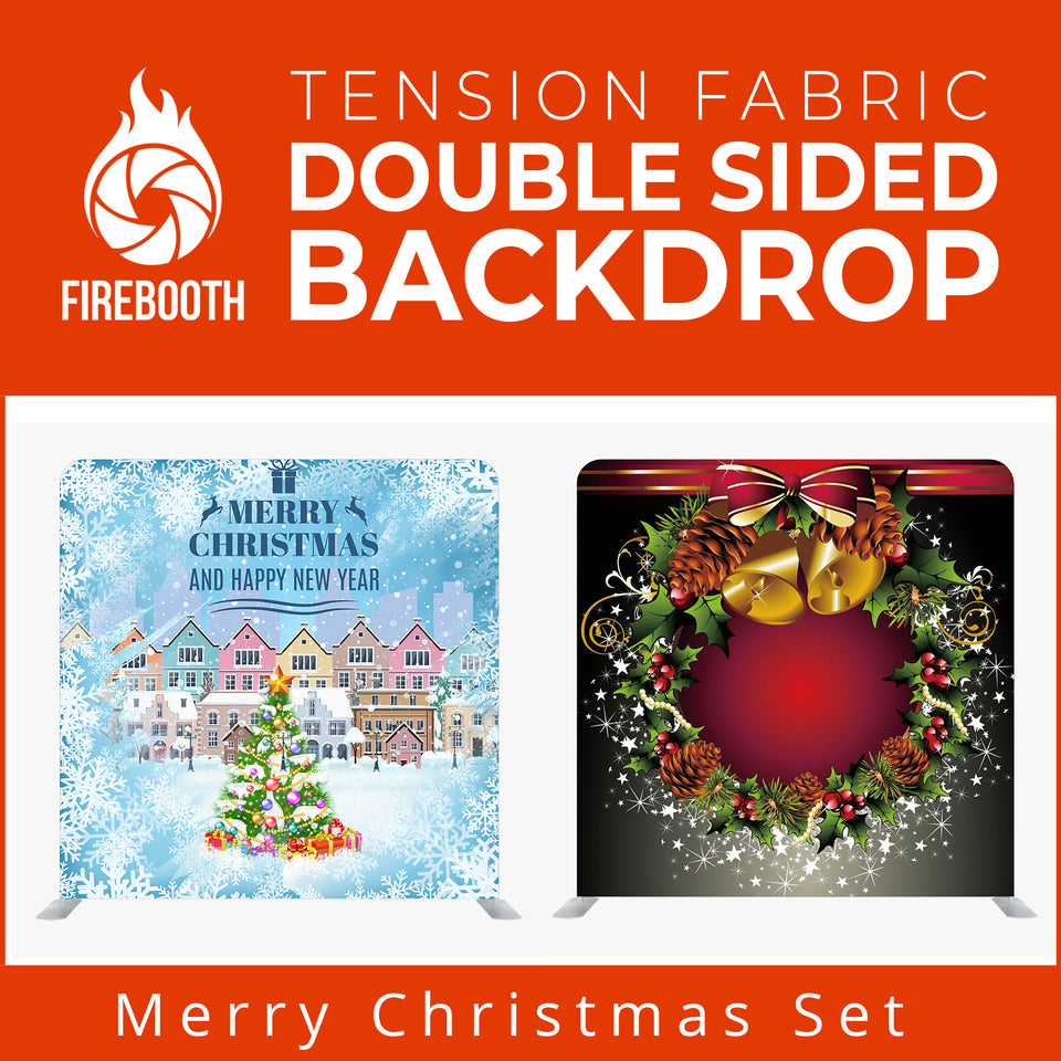 Merry Christmas Set8 Double Sided Tension Fabric Photo Booth Backdrop