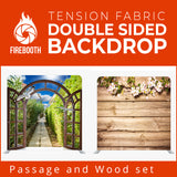 Passage and Wood Set Double Sided Tension Fabric Photo Booth Backdrop
