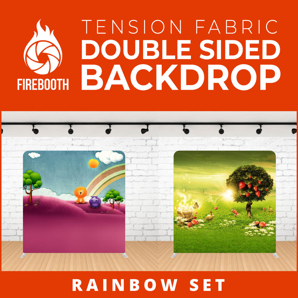 Rainbow Set Double Sided Tension Fabric Photo Booth Backdrop