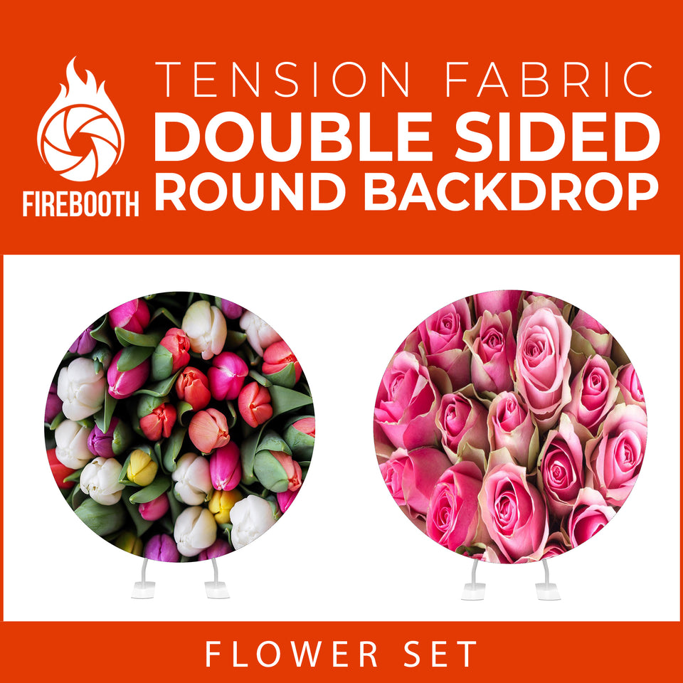 Flower Set-07 Double Sided Round Tension Fabric Photo Booth Backdrop