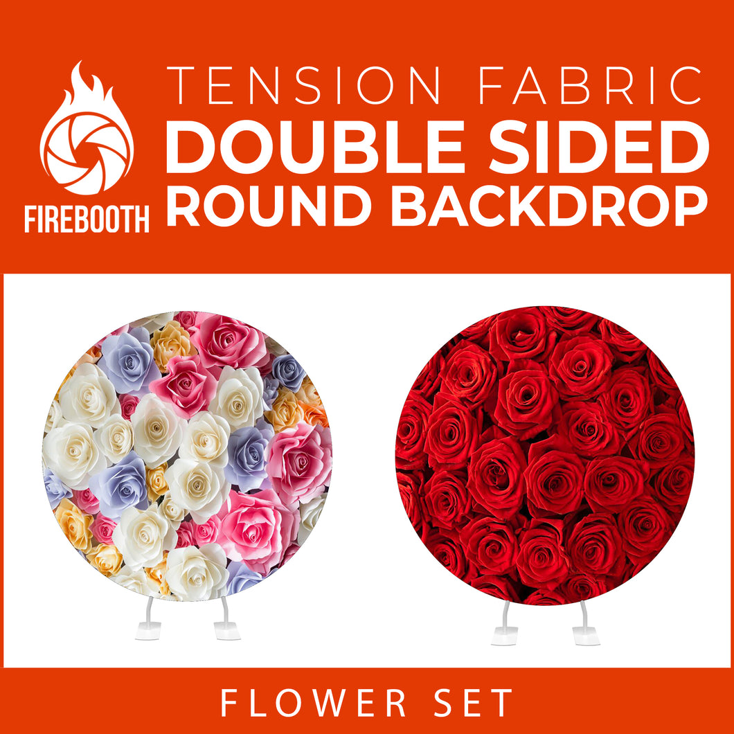 Flower Set-08 Double Sided Round Tension Fabric Photo Booth Backdrop