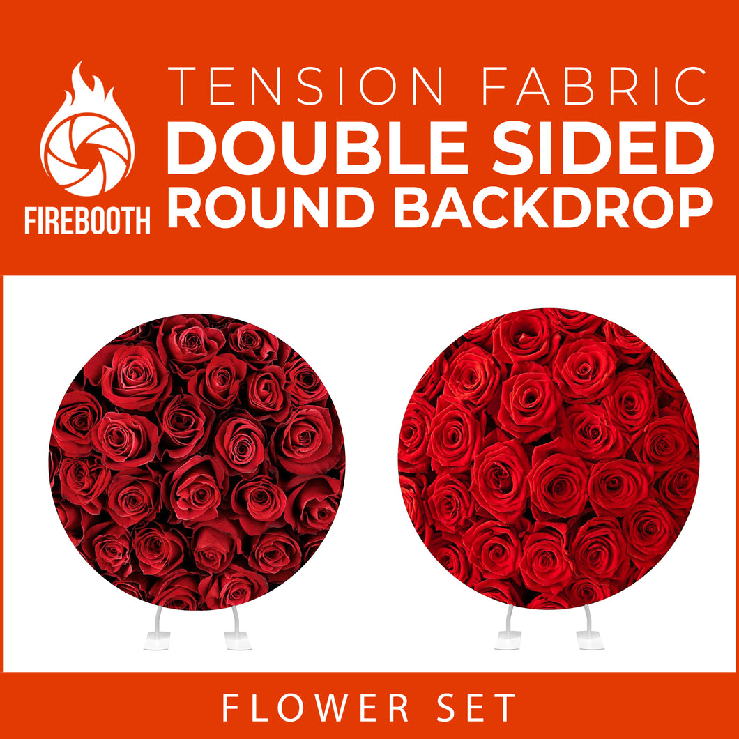 Flower Set-09 Double Sided Round Tension Fabric Photo Booth Backdrop