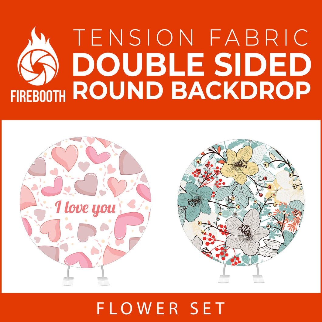 Flower Set-11 Double Sided Round Tension Fabric Photo Booth Backdrop
