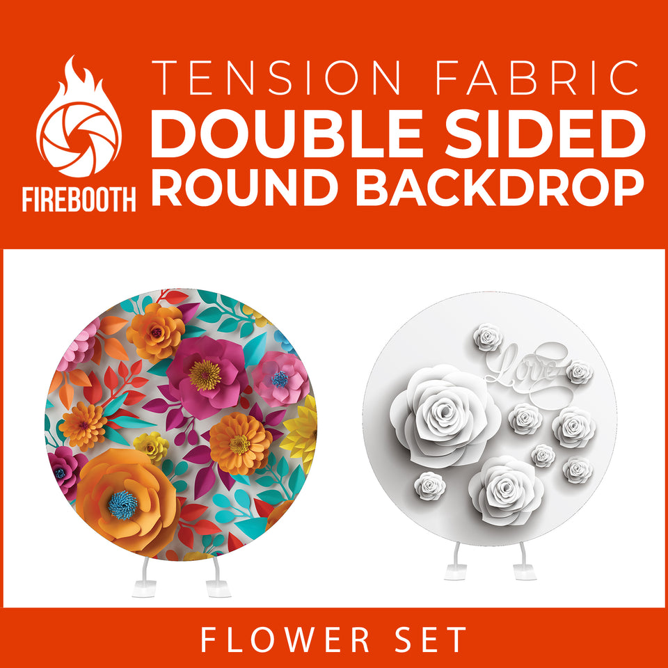 Flower Set-01 Double Sided Round Tension Fabric Photo Booth Backdrop