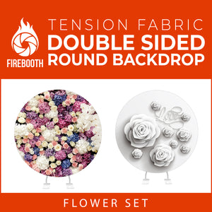 Flower Set-02 Double Sided Round Tension Fabric Photo Booth Backdrop