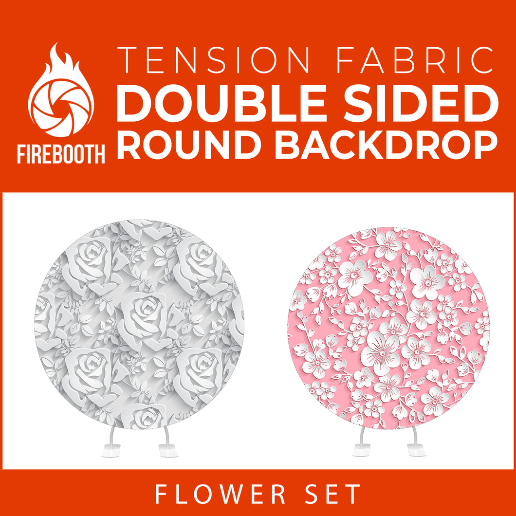 Flower Set-04 Double Sided Round Tension Fabric Photo Booth Backdrop