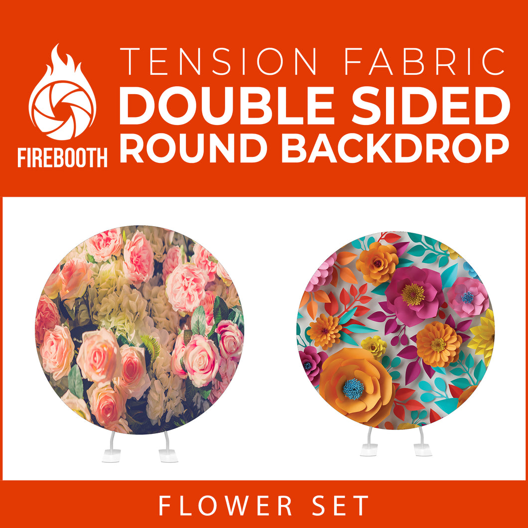 Flower Set-05 Double Sided Round Tension Fabric Photo Booth Backdrop