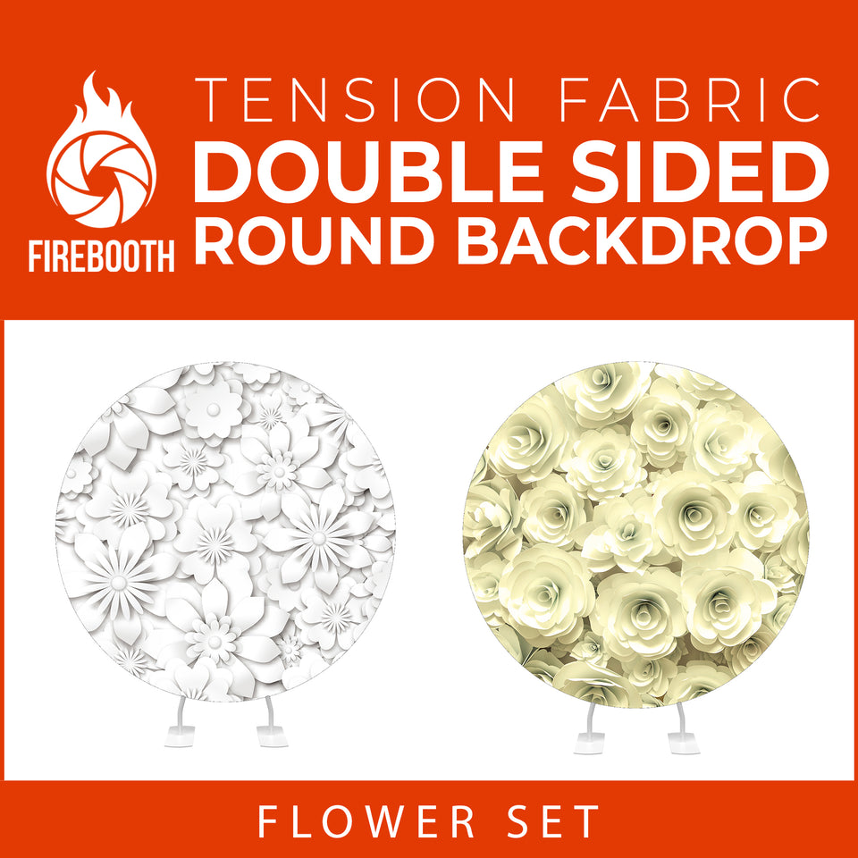 Flower Set-06 Double Sided Round Tension Fabric Photo Booth Backdrop