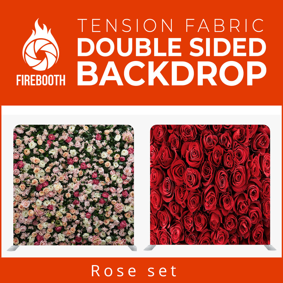 Rose Set Double Sided Tension Fabric Photo Booth Backdrop