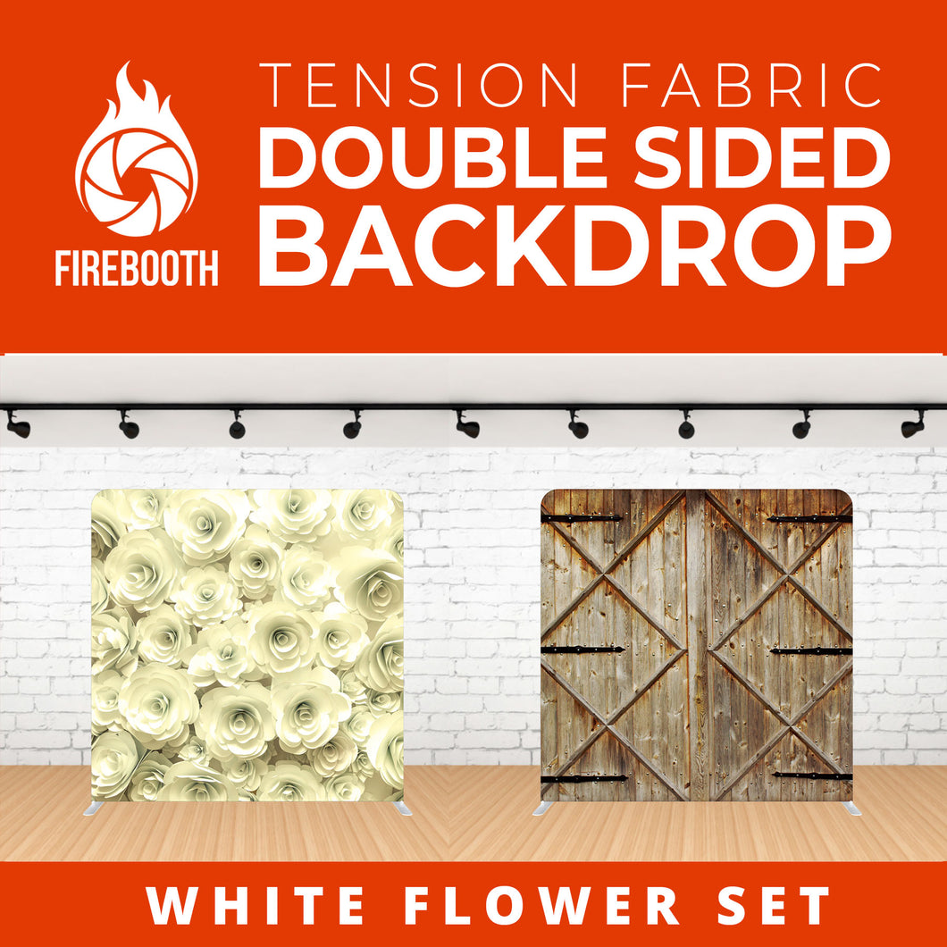 White Flower Set-1 Double Sided Tension Fabric Photo Booth Backdrop