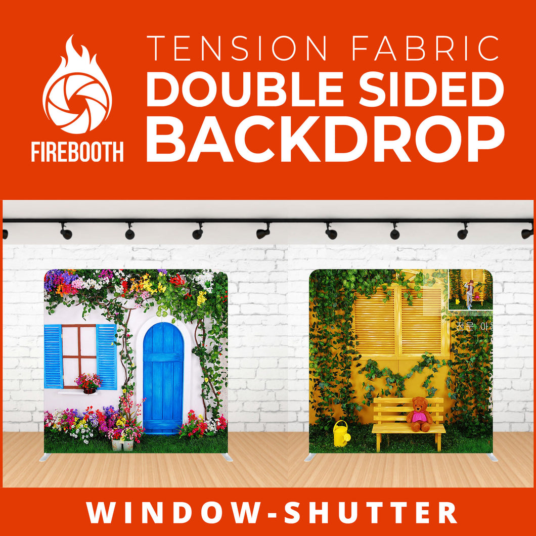 Window - Shutter Double Sided Tension Fabric Photo Booth Backdrop