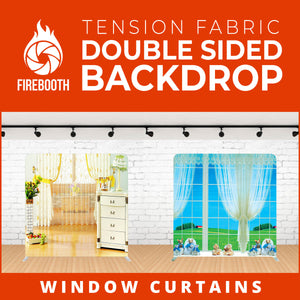 Window Curtains Double Sided Tension Fabric Photo Booth Backdrop