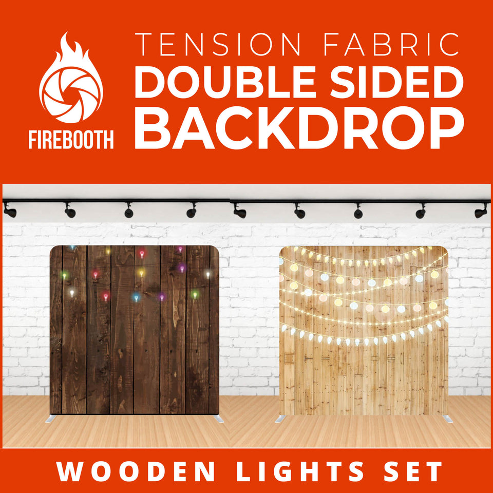 Wooden Lights Set-10 Double Sided Tension Fabric Photo Booth Backdrop