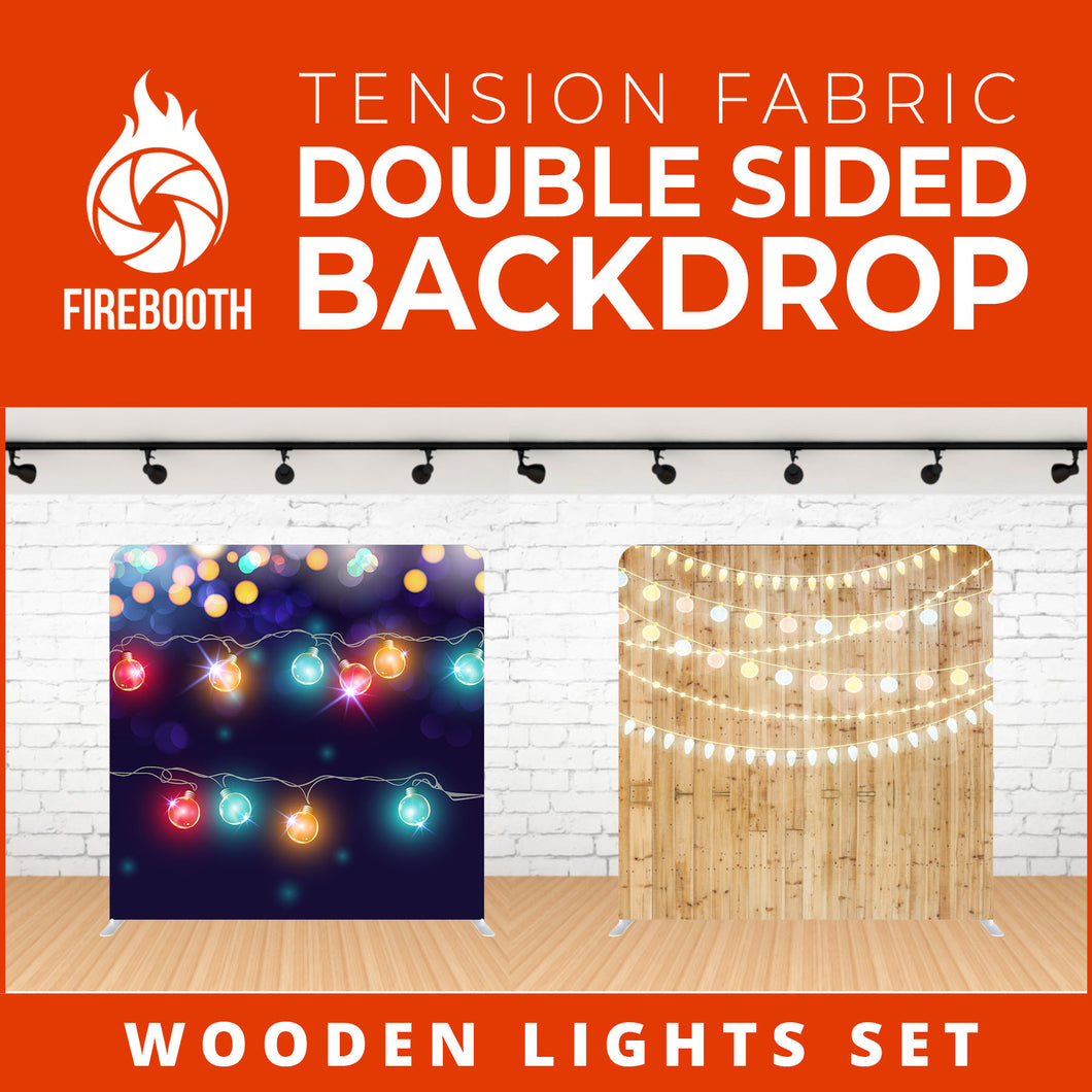 Wooden Lights Set Double Sided Tension Fabric Photo Booth Backdrop