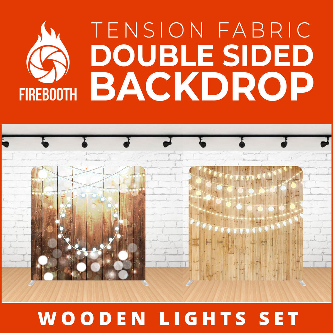 Wooden Lights Set-8 Double Sided Tension Fabric Photo Booth Backdrop
