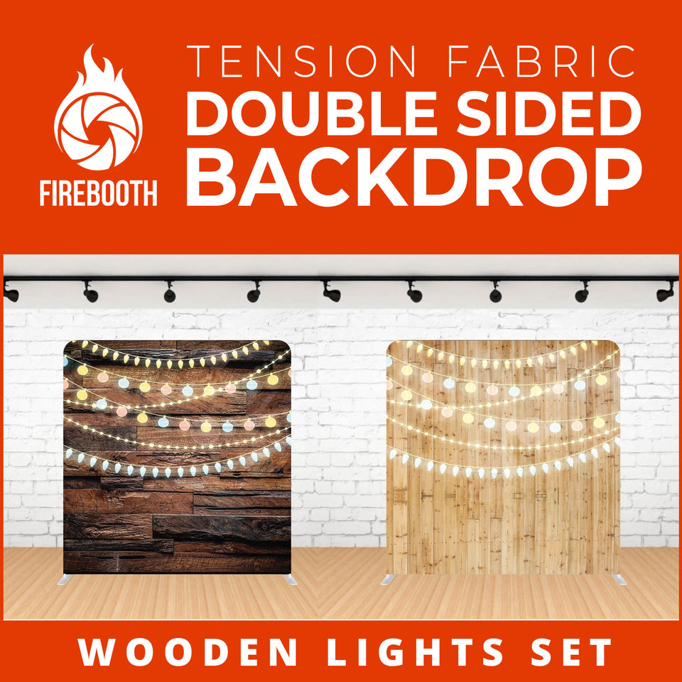 Wooden Lights Set-9 Double Sided Tension Fabric Photo Booth Backdrop