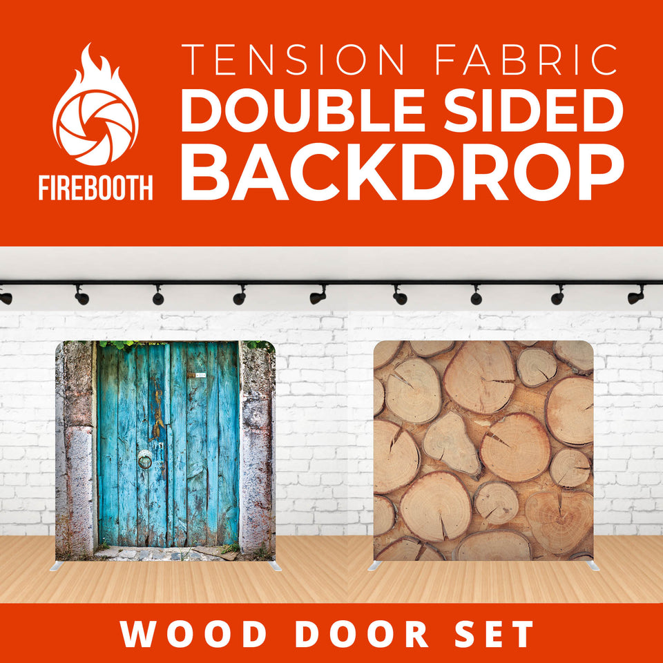 Wood Door Set Double Sided Tension Fabric Photo Booth Backdrop