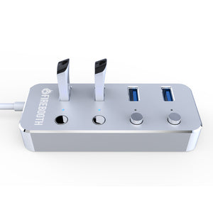 FireBooth Powered 4 Port Aluminum Powered USB 3.0 Hub, Photo Booth USB Hub