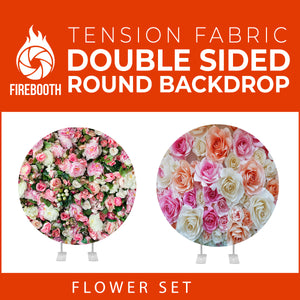 Flower Set-32 Double Sided Round Tension Fabric Photo Booth Backdrop