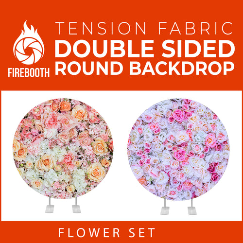 Flower Set-33 Double Sided Round Tension Fabric Photo Booth Backdrop