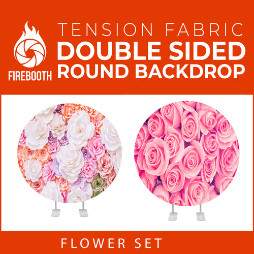 Flower Set-34 Double Sided Round Tension Fabric Photo Booth Backdrop
