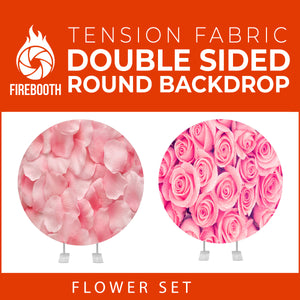 Flower Set-35 Double Sided Round Tension Fabric Photo Booth Backdrop