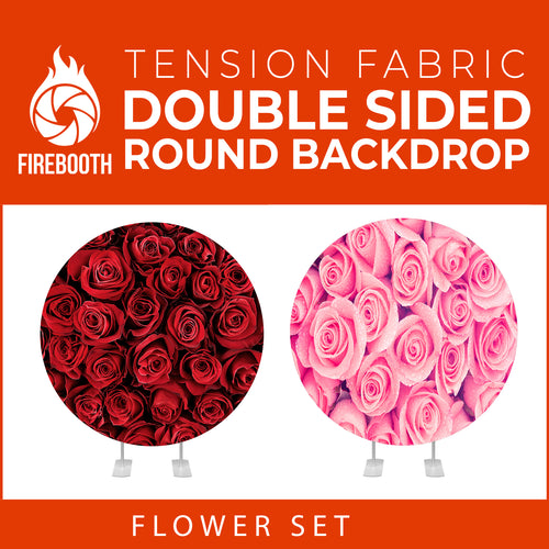 Flower Set-36 Double Sided Round Tension Fabric Photo Booth Backdrop
