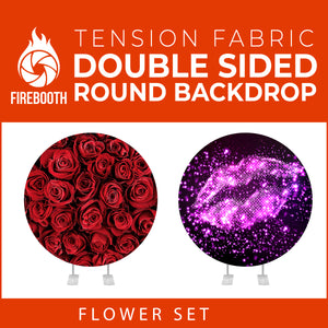 Flower Set-37 Double Sided Round Tension Fabric Photo Booth Backdrop
