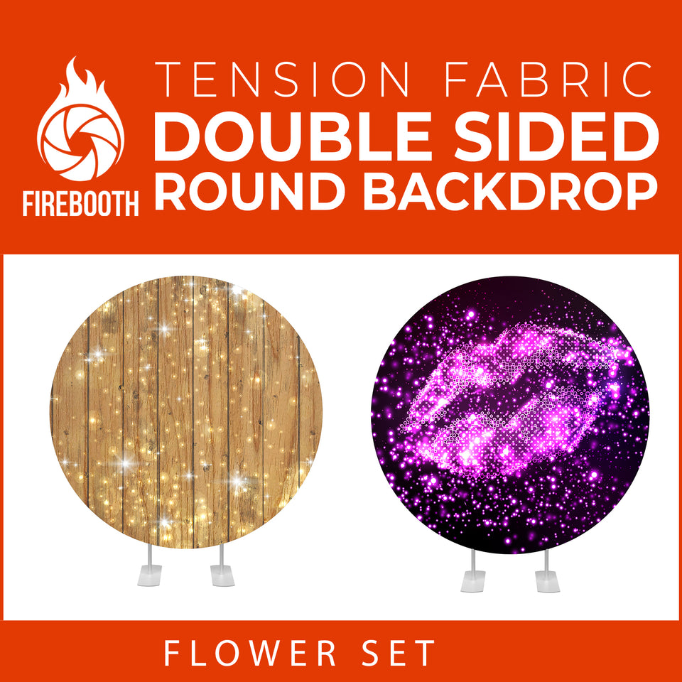 Flower Set-38 Double Sided Round Tension Fabric Photo Booth Backdrop