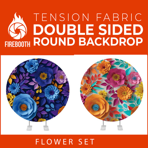 Flower Set-40 Double Sided Round Tension Fabric Photo Booth Backdrop