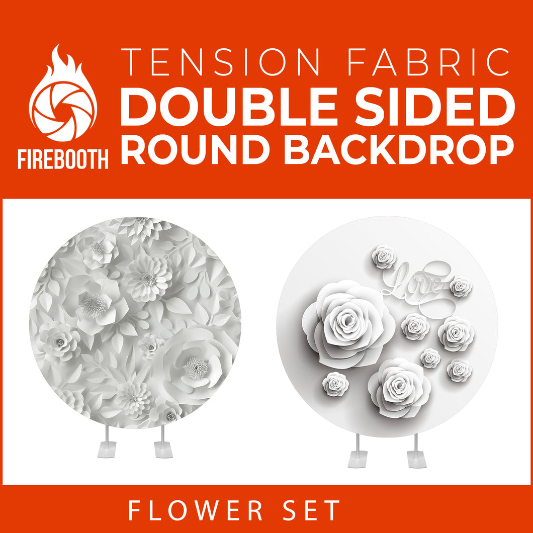 Flower Set-41 Double Sided Round Tension Fabric Photo Booth Backdrop