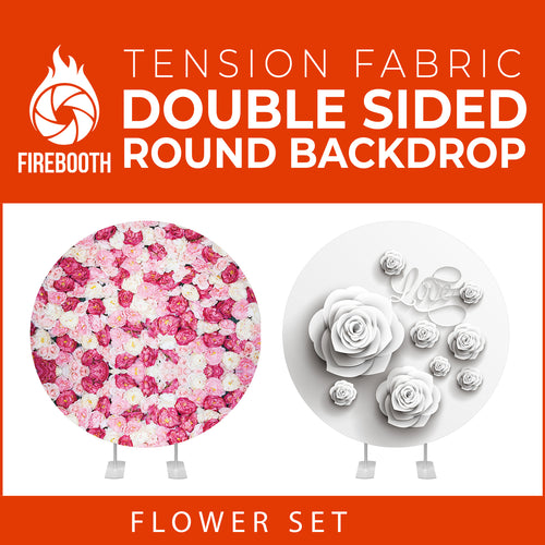 Flower Set-42 Double Sided Round Tension Fabric Photo Booth Backdrop