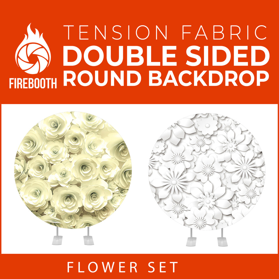 Flower Set-44 Double Sided Round Tension Fabric Photo Booth Backdrop