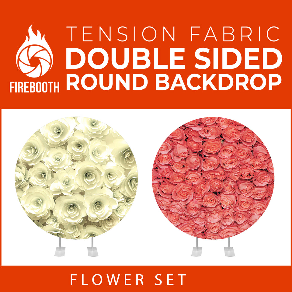 Flower Set-45 Double Sided Round Tension Fabric Photo Booth Backdrop