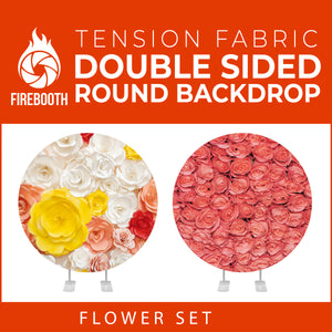 Flower Set-46 Double Sided Round Tension Fabric Photo Booth Backdrop