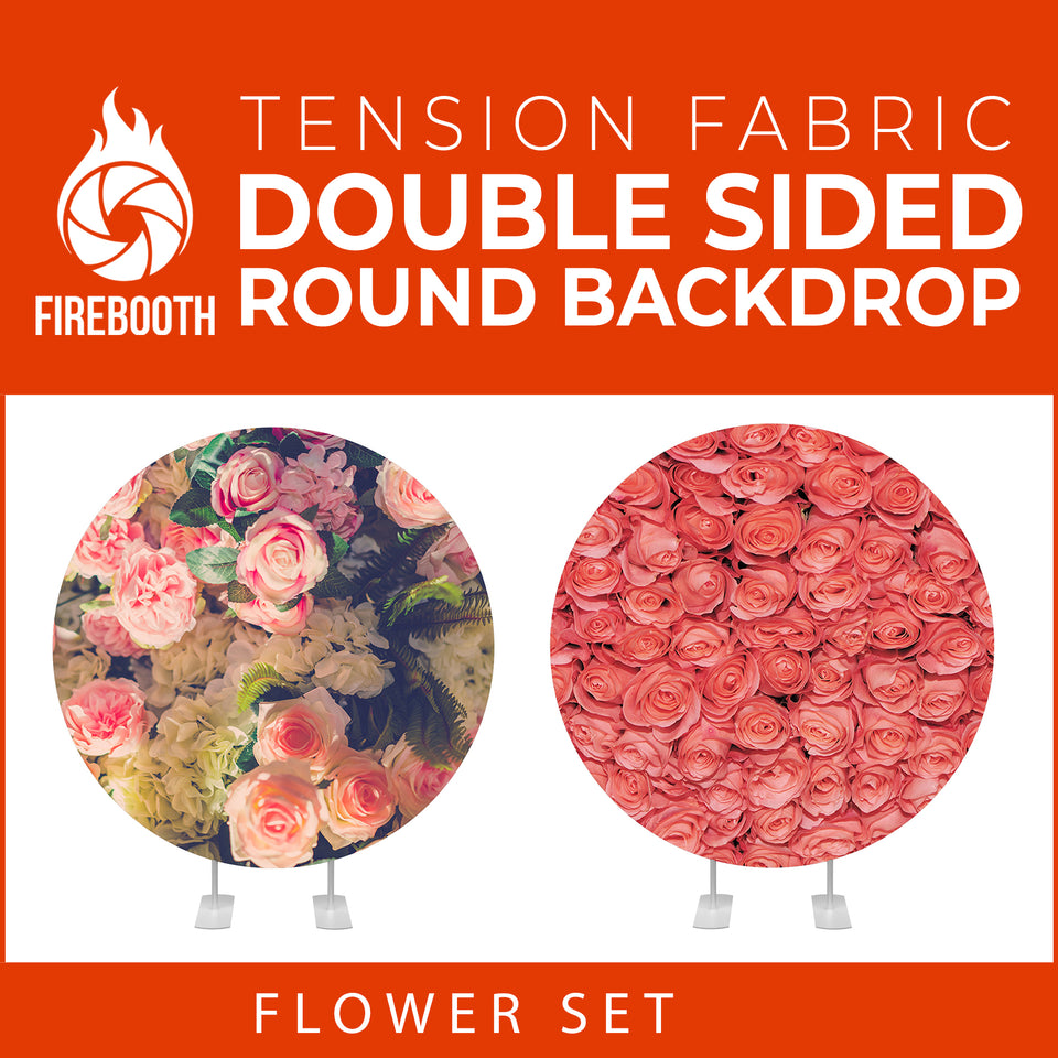 Flower Set-47 Double Sided Round Tension Fabric Photo Booth Backdrop