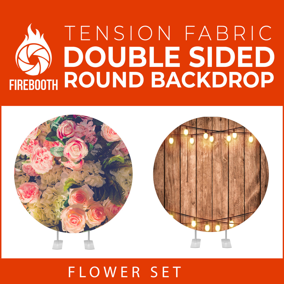 Flower Set-49 Double Sided Round Tension Fabric Photo Booth Backdrop