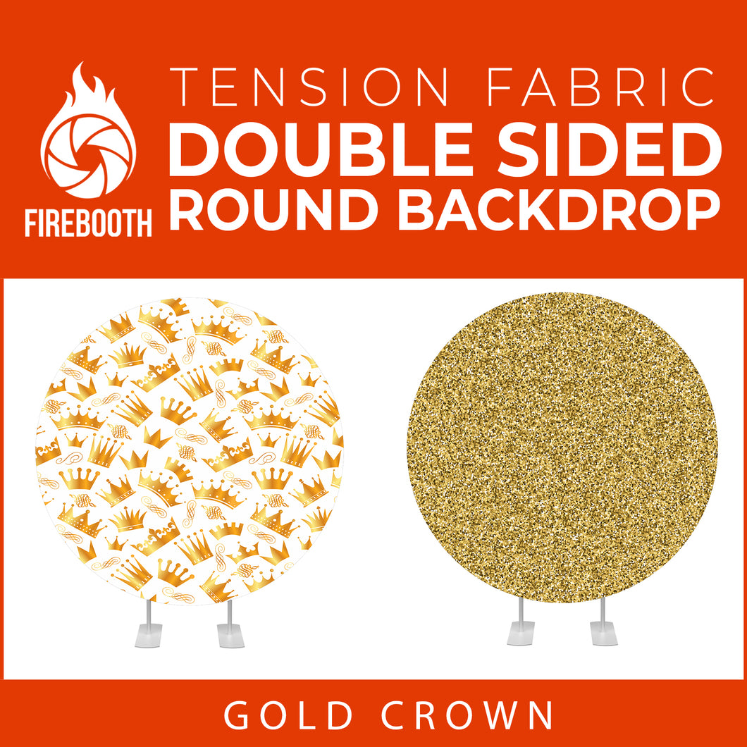 Gold Crown-01 Double Sided Round Tension Fabric Photo Booth Backdrop