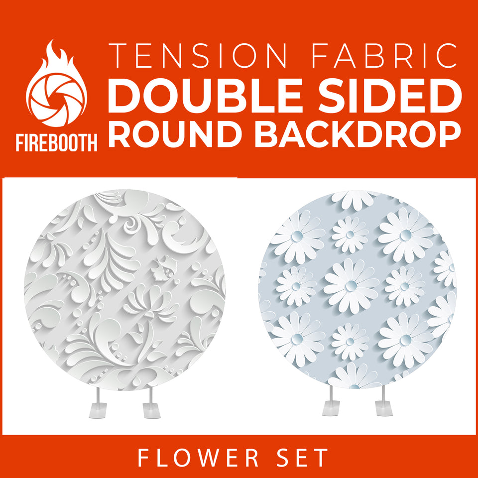 Flower Set-13 Double Sided Round Tension Fabric Photo Booth Backdrop